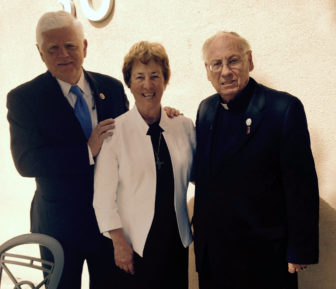 U.S. Rep. John Larson, left, with his guests at the pope's address: Peggy Evans and the Rev. James Nock.