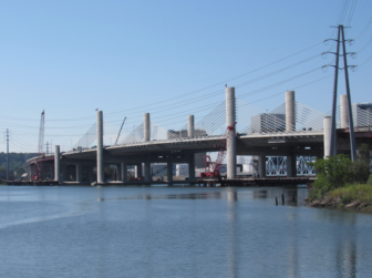 The Pearl Harbor Memorial Bridge, known as the Q bridge, which carries I-95 over New Haven harbor.