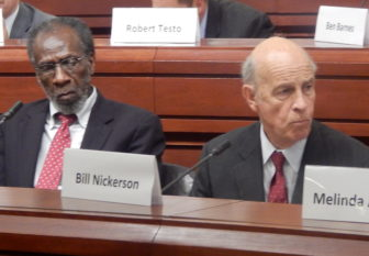 State Tax Panel Co-chairs William Dyson, left, and William Nickerson preside at a panel hearing.
