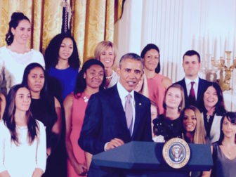 President Barack Obama sings the praises of the national champion University of Connecticut women's basketball team at the White House.