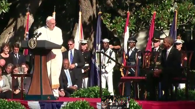 Pope Francis addressed President Obama and other dignitaries Wednesday at the White House.