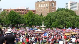 Puerto Rican Day festival gathering in Hartford's Bushnell Park in June.