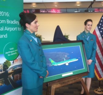 Aer LIngus flight attendants help announce service from Bradley.