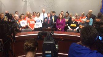Sen. Richard Blumenthal, Sen. Chris Murphy and Rep. Elizabeth Esty calling for better background checks.