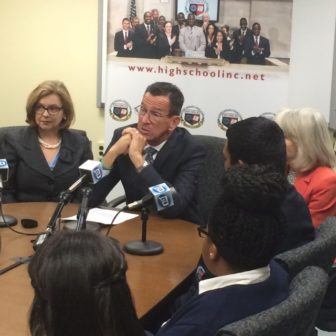 Gov Dannel P. Malloy talks about the budget at High School, Inc.