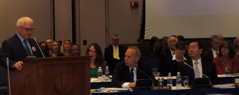 Michael Bailey of the American Association of University Professors addresses the UConn Board of Trustees.