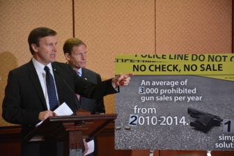 Conecticut U.S. Sens. Chris Murphy, left, and RIchard Blumenthal discuss gun legislation introduced Wednesday.