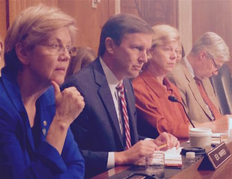 Connecticut U.S. Sen. Chris Murphy, second from left, with Democratic Sens. Elizabeth Warren of Massachusetts, Tammy Baldwin of Wisconsin and Sheldon Whitehouse of Rhode Island.at a hearing Thursday on reform of federal mental health policy.