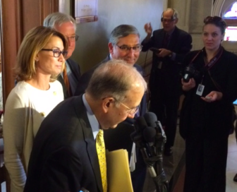 Leaders: Martin Looney briefs reporters with Themis Klarides, J. Brendan Sharkey and Len Fasano.
