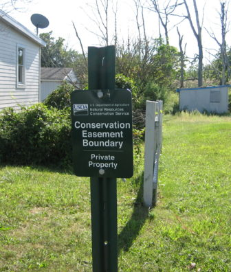 A conservation easement sign in West Haven.