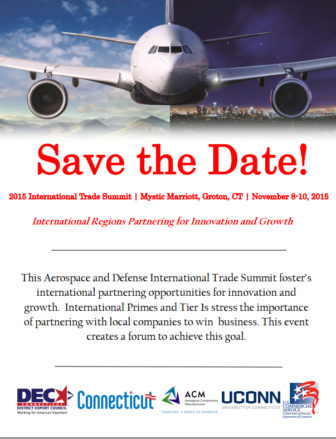 The Connecticut District Export Council's flyer promoting Monday's event in Groton.
