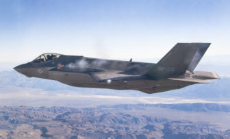An F-35A tests its gun in the air for the first time last week over California.