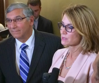 Senate Minority Leader Len Fasano and House Minority Leader Themis Klarides after budget talks Wednesday