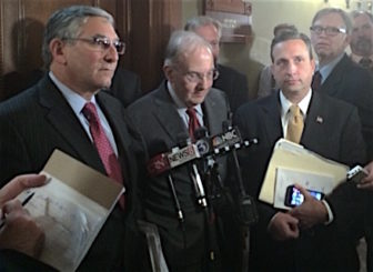 Senate Minority Leader Len Fasano, Senate President Pro Tem Martin M. Looney and Senate Majority Leader Bob Duff talk to reporters after budget negotiations Tuesday.