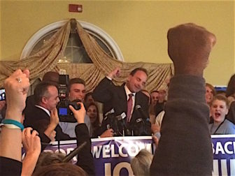 Newly elected Bridgeport Mayor Joseph P. Ganim celebrates with supporters Tuesday night.