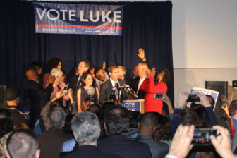 Luke Bronin celebrates his victory with his supporters