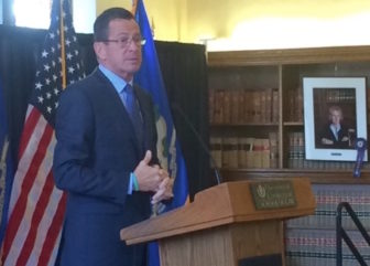 Gov. Dannel P. Malloy speaking at the UConn law school Friday.