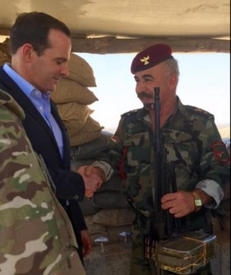 McGurk meeting with a Peshmerga fighter battling ISIL in Iraq near Gwer.