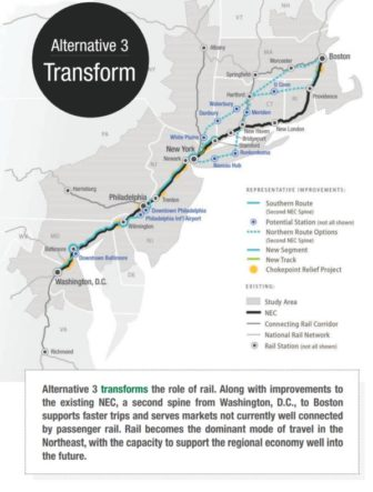 A map of Alternative 3, which includes a tunnel under Long Island Sound to New Haven. Click image to enlarge.