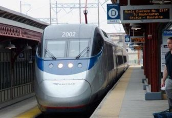 An Amtrak Acela train bound for Washington, D.C.