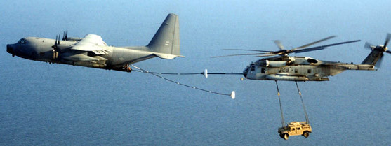 Sikorsky CH-53E Super Stallion being refueled in flight.