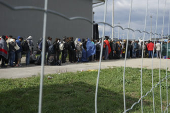 A line of Syrian refugees crossing the border of Hungary and Austria in September.