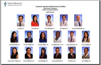 Hospitalists at St. Francis Hospital and Medical Center developed this flyer so patients would know the names and faces of the doctors who see them.