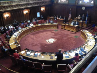 The chamber of the Connecticut State Senate during Tuesday's special session.