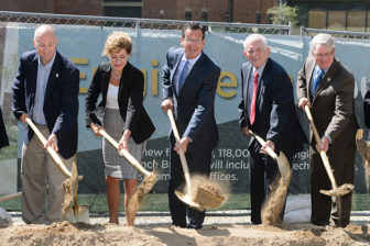 UConn President Susan Herbst and Gov. Dannel Malloy (center) and other dignitaries break ground for a new building on the Storrs campus in September