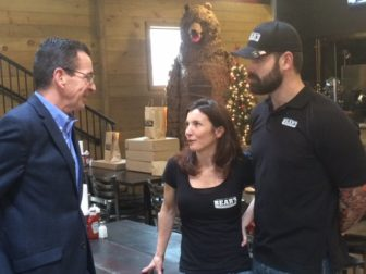 "Gov. Dannel P. Malloy with Cheryl and Jamie ""Bear"" McDonald."