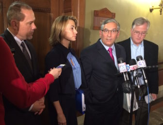 Legislative leaders announce they failed to reach a bipartisan deal on how to close the state budget deficit. From left, House Majority Leader Joe Aresimowicz, House Minority leader Themis Klarides, Senate Majority Leader Len Fasano and House Speaker Brendan Sharkey.