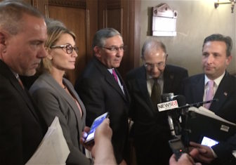 Legislative leaders report on their discussions of the state budget deficit Tuesday. From left, House Majority Leader Joe Aresimowicz, House Minority Leader Themis Klarides, Senate Minority Leader Len Fasano, Senate President Pro Tem Martin Looney and Senate Majority Leader Bob Duff.