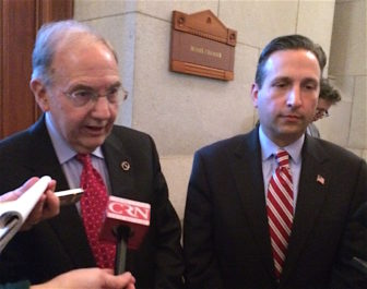 Senate President Pro Tem Martin Looney and Majority Leader Bob Duff comment after Monday's Senate Democratic caucus.