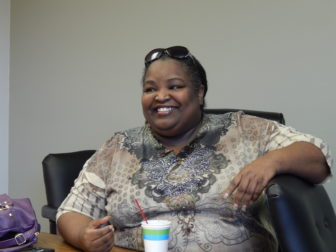 This is a picture of Stephanie Johnson, president of AFT CT Local 5051, which represents license practical nurses and technologists at Lawrence + Memorial Hospital.