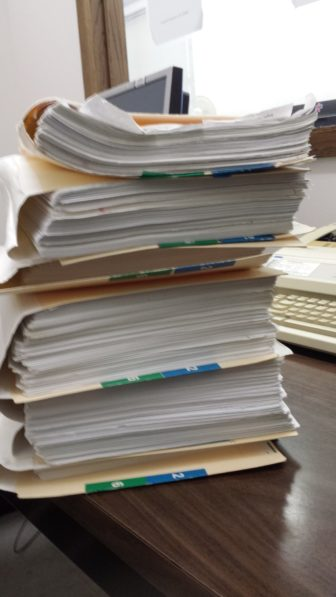 The case file for the school-funding case the week before the trial began. The case was first filed in 2005.
