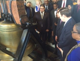 Connecticut's replica of the Liberty Bell rang three times at noon to honor Martin Luther King Jr.