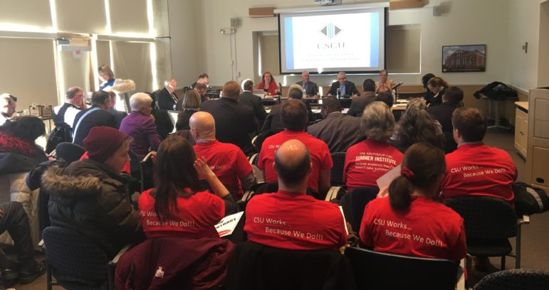 American Association of University Professors members wore red in a show of solidarity at a meeting of the Board of Regents for Higher Education on Thursday, Jan. 21. The board, which oversees the Connecticut State Colleges and Universities system, held its final meeting before the contract arbitration deadline.