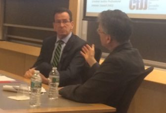 Gov. Dannel P. Malloy and Vincent Schiraldi at the Havard Kennedy School.