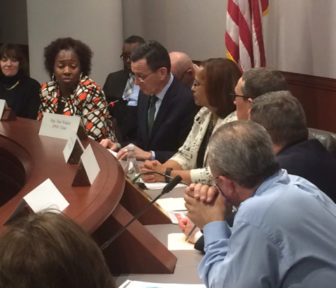 Gov. Dannel Malloy presenting his proposal to members of the Juvenile Justice Policy and Oversight Committee.