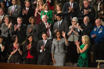 Michelle Obama at the 2015 State of the Union address. Gov. Dannel P. Malloy will sit with the first lady at the 2016 State of the Union address Tuesday.