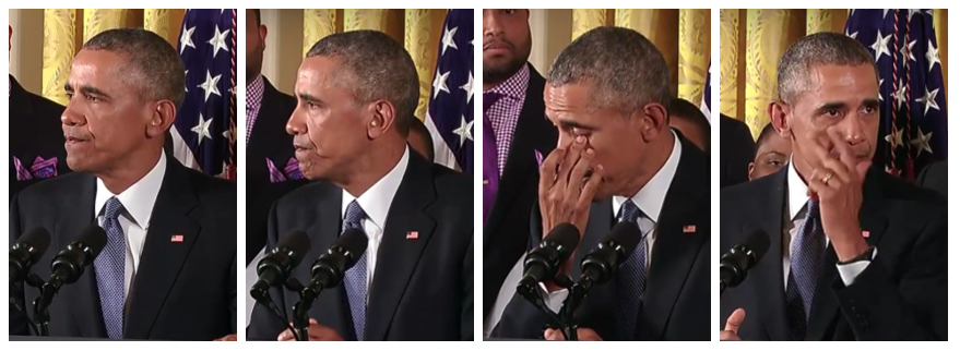 Obama wipes away tears as he talks about the deaths of 20 first-graders at Sandy Hook Elementary School.