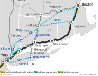 Northeast rail corridor proposal Option 3