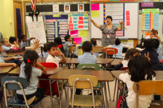A teacher in a classroom at DiLoreto Magnet Elementary School in New Britain