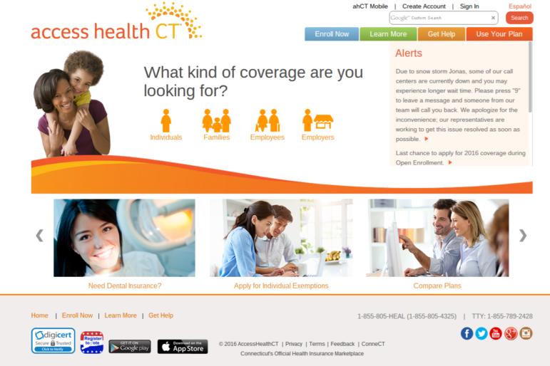 A screenshot of Access Health CT's website taken Jan. 26, 2016.