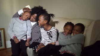 Dorothy McKnight with the four children she adopted