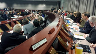 UConn officials field questions from the Appropriations Committee on Tuesday.