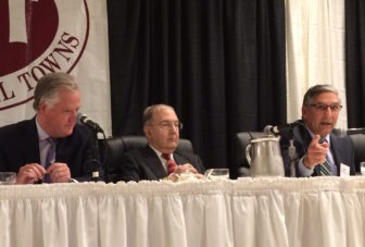 House Speaker Brendan Sharkey, Senate Majority Leader Martin Looney and Senate Minority Leader Len Fasano discuss the state budget at the Council of Small Towns annual meeting.