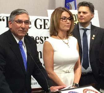 Senate Minority Leaders Len Fasano, House Minority Leader Themis Klarides and GOP Rep. Gary Byron of Newington at a press conference outlining Republican budget-cutting proposals.