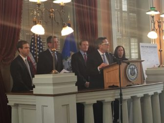 From left to right: Hartford Mayor Luke Bronin, Gov. Dannel P. Malloy, U.S. Sen. Richard Blumenthal, White House Director of National Drug Control Policy Michael Botticelli and DCF Commissioner Joette Katz.