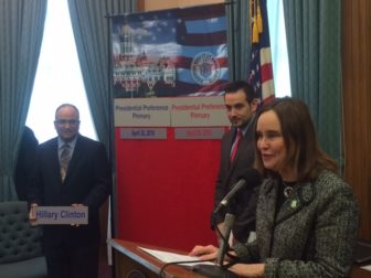 Democrat Nick Balletto promoted his candidate at event with Republican J.R. Romano and Secretary of the State Denise Merrill.